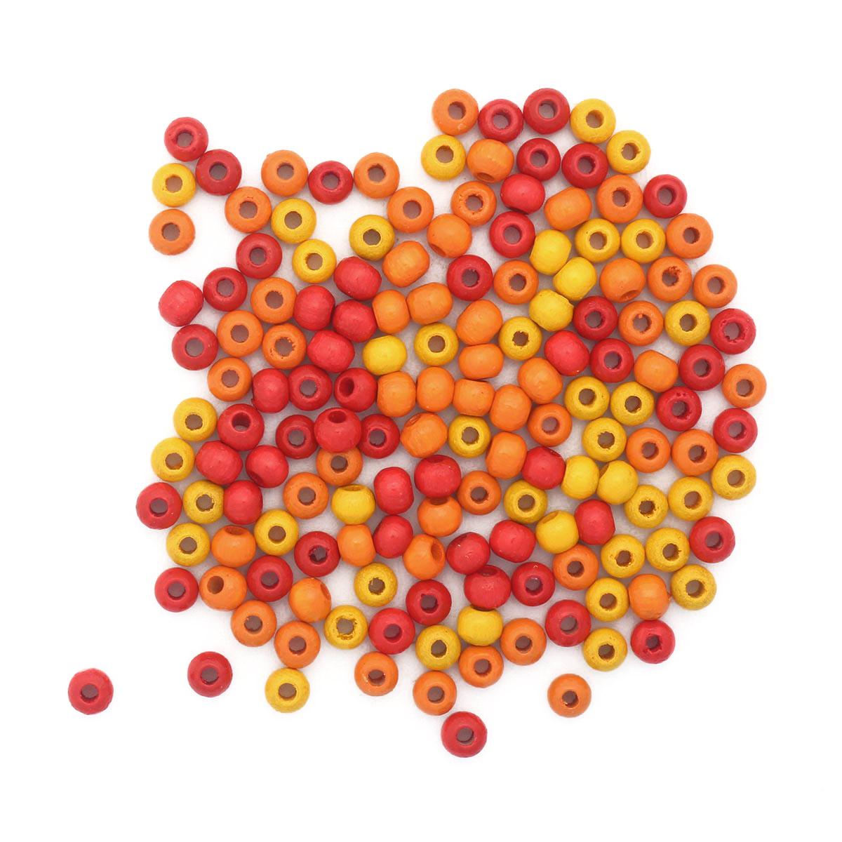61651050 Бусины дерево, оранжевый микс, 4 мм, упак./155 шт., Glorex