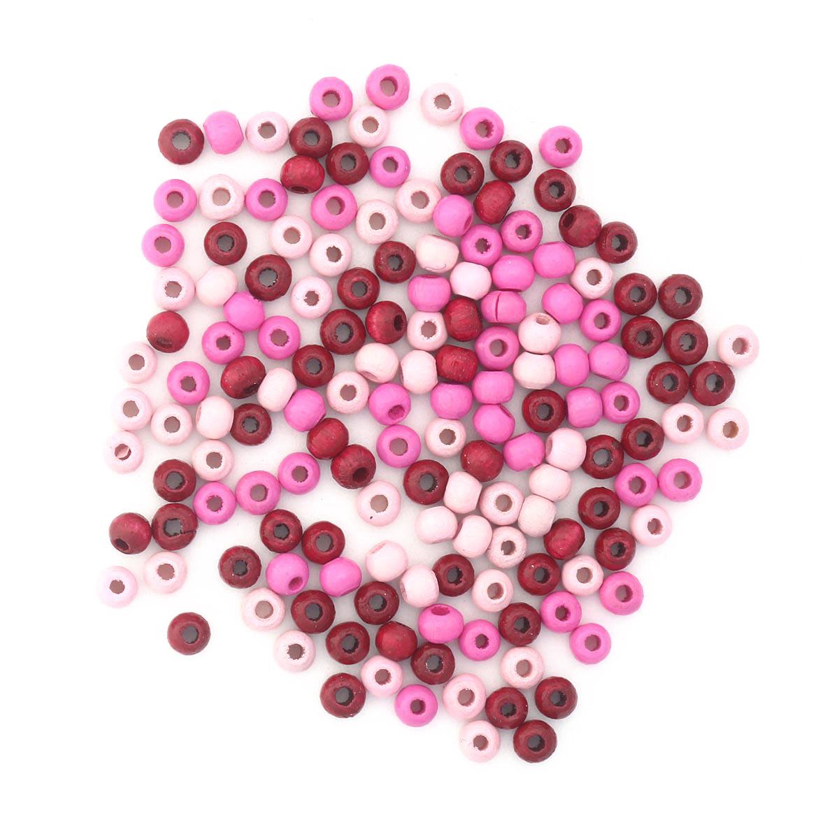 61651051 Бусины дерево, розовый микс, 4 мм, упак./155 шт., Glorex