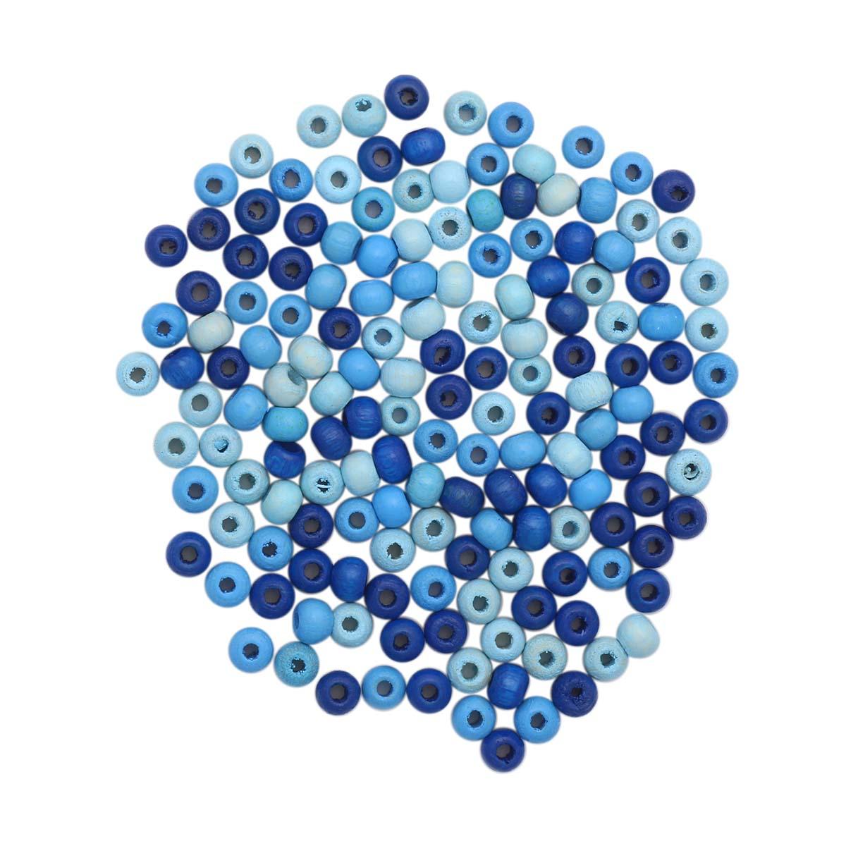 61651053 Бусины дерево, голубой микс, 4 мм, упак./155 шт., Glorex