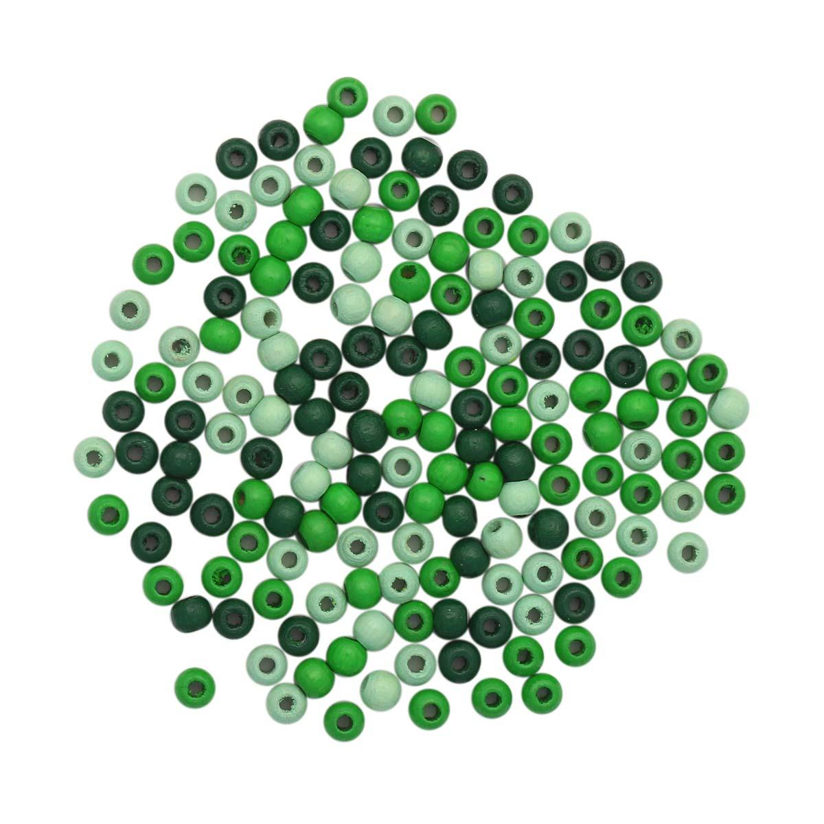 61651055 Бусины дерево, зеленый микс, 4 мм, упак./155 шт., Glorex