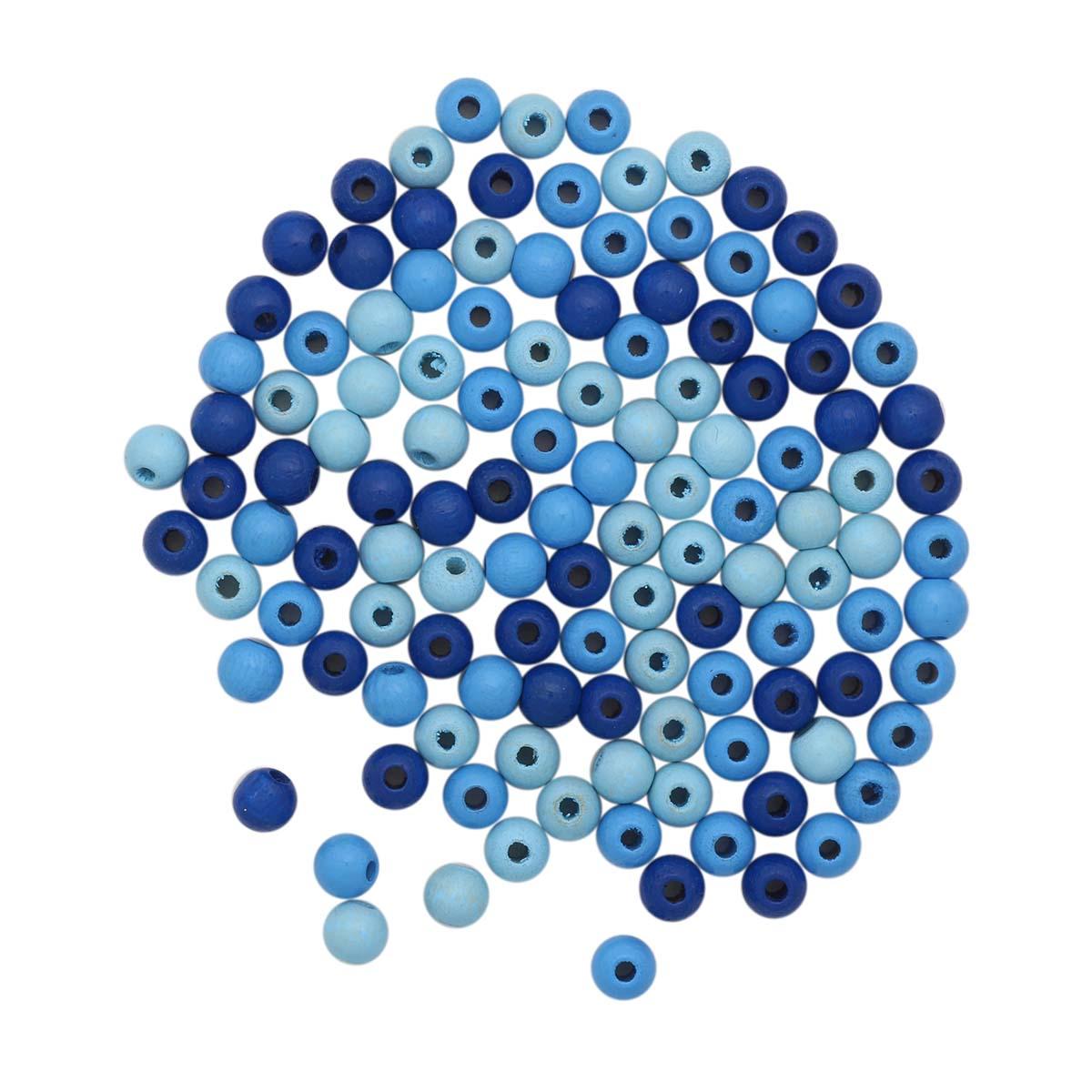 61652053 Бусины дерево, голубой микс, 6 мм, упак./118 шт., Glorex