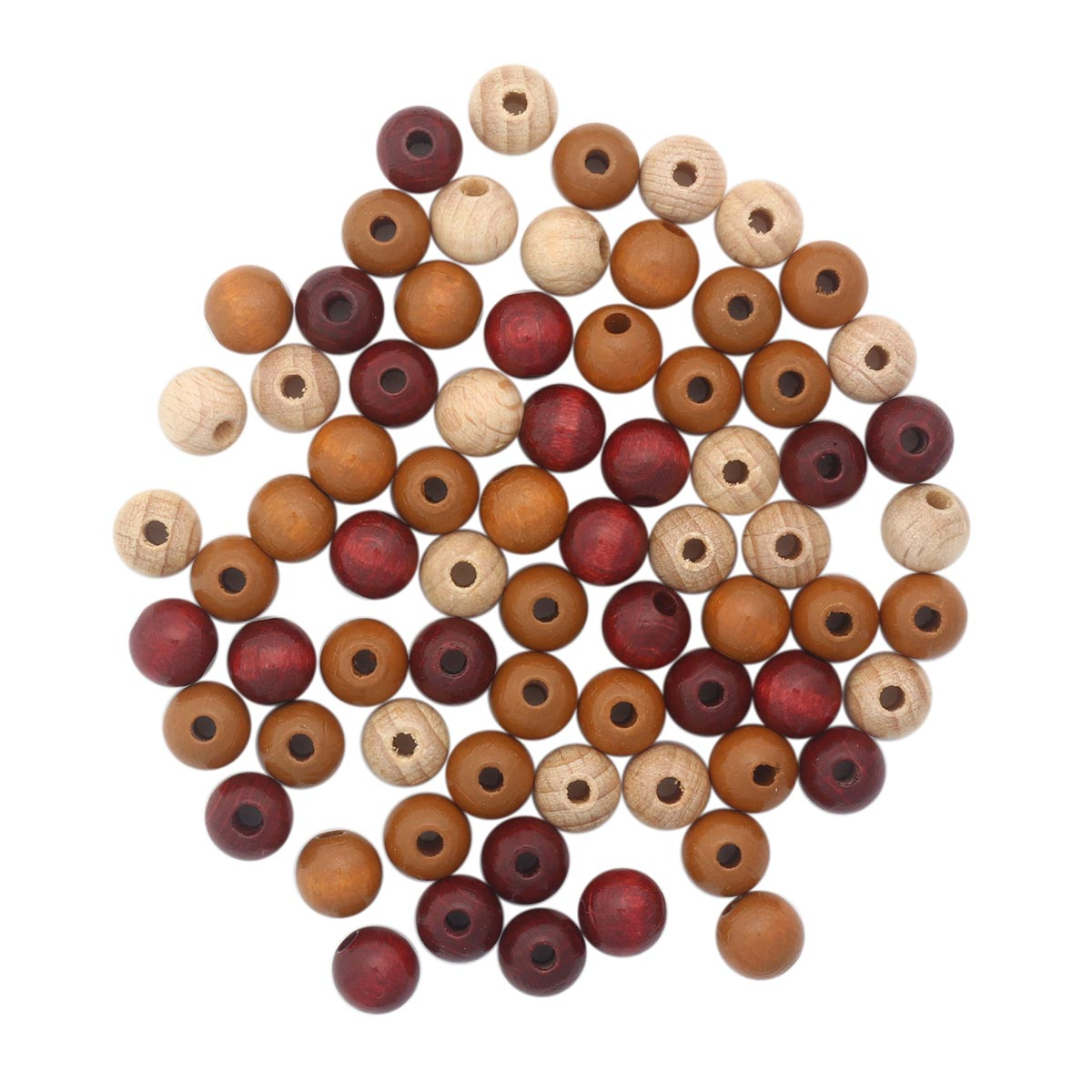 61653056 Бусины дерево, коричневый микс, 8 мм, упак./80 шт., Glorex