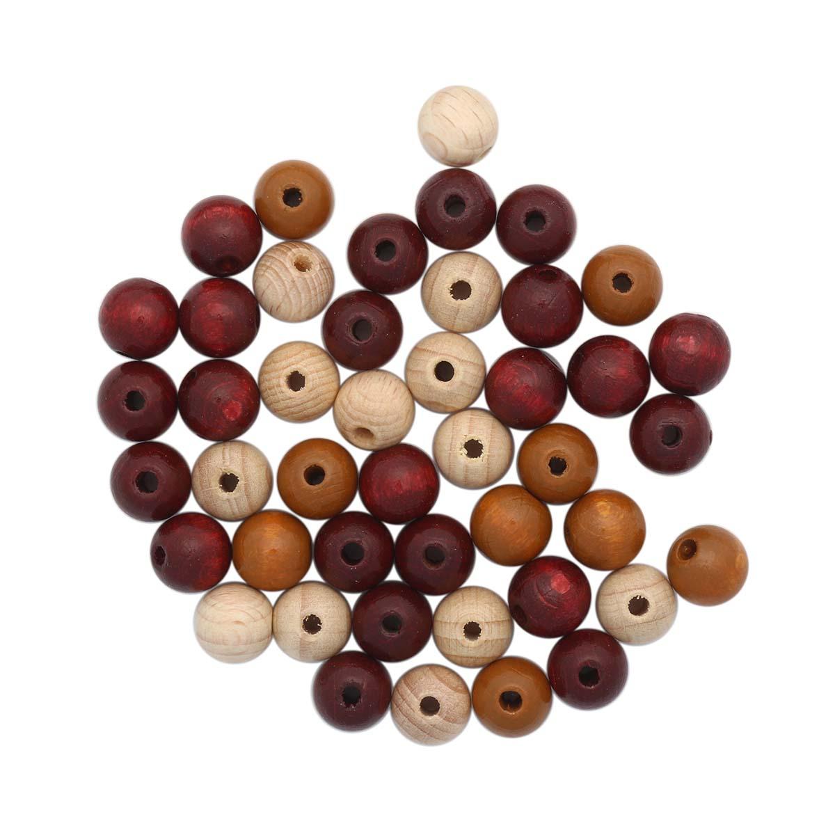61654056 Бусины дерево, коричневый микс,10 мм, упак./47 шт., Glorex
