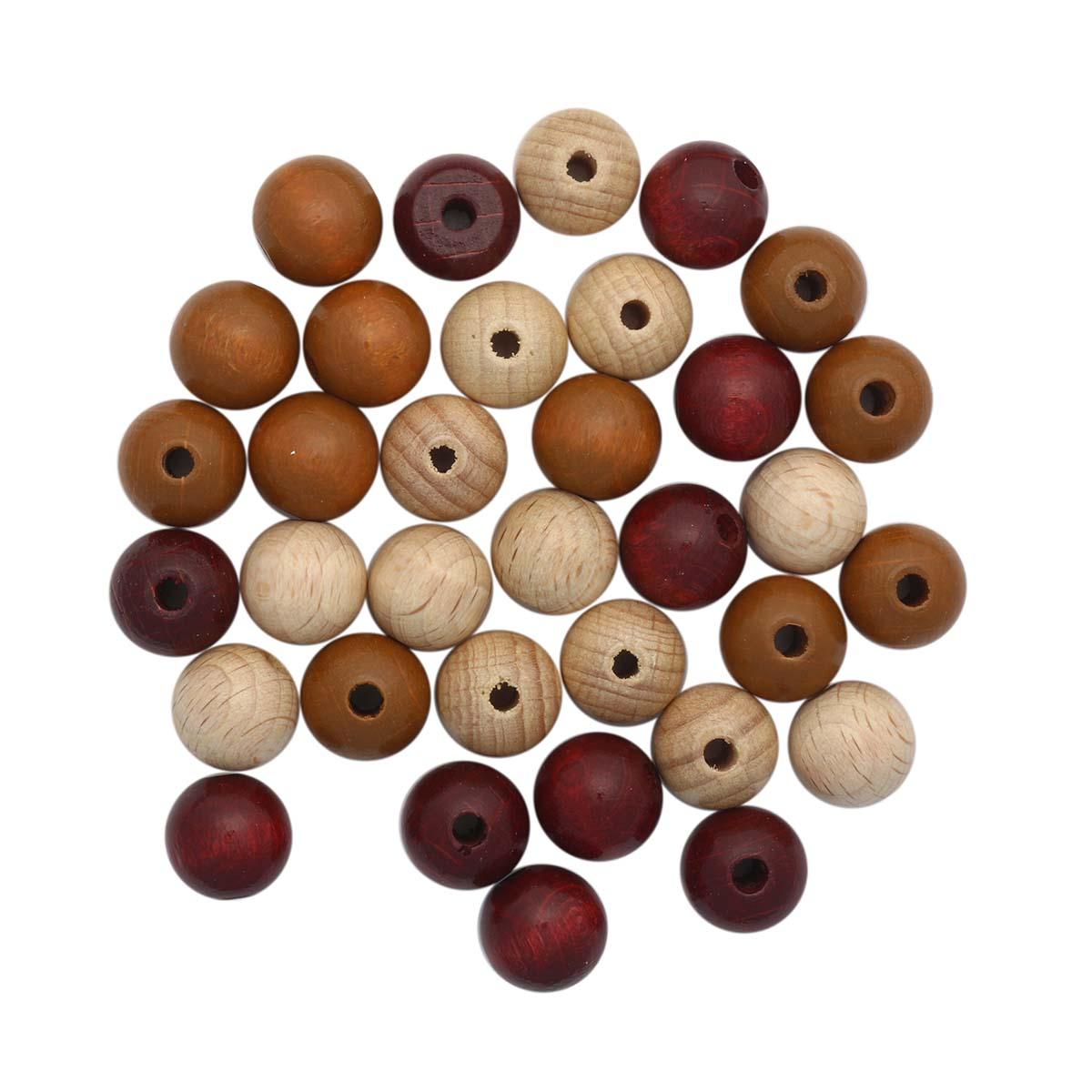 61655056 Бусины дерево, коричневый микс ,12 мм, упак./28 шт., Glorex