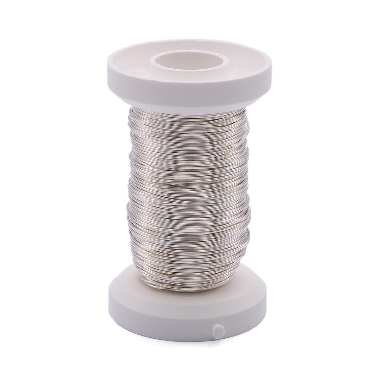 62220109 Проволока серебрянная ,толщ.0,4мм,40м Glorex
