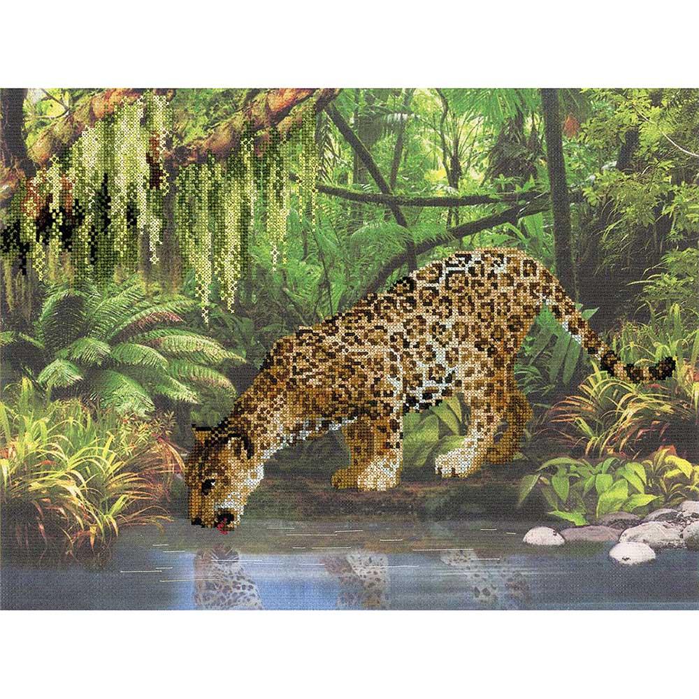 РТ-0023 Набор для вышивания Riolis 'Леопард у воды', 40*30 см