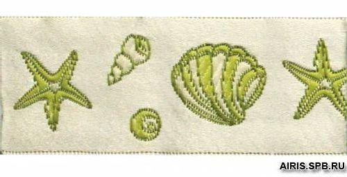 05-70203/28 Тесьма жаккард. салат 'ракушки' 28мм*10м (ГР)