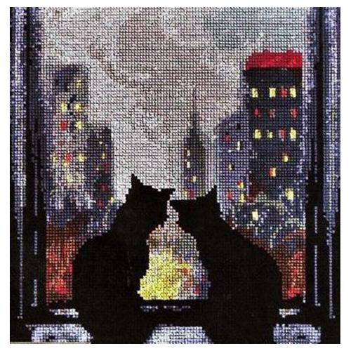 1093 Набор для вышивания Alisena 'Кошки на окошке', 17*18 см