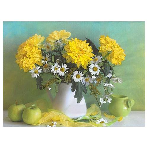7004 Набор для вышивания в смешанной технике 'Матренин Посад' 'Желтые хризантемы', 32*40 см
