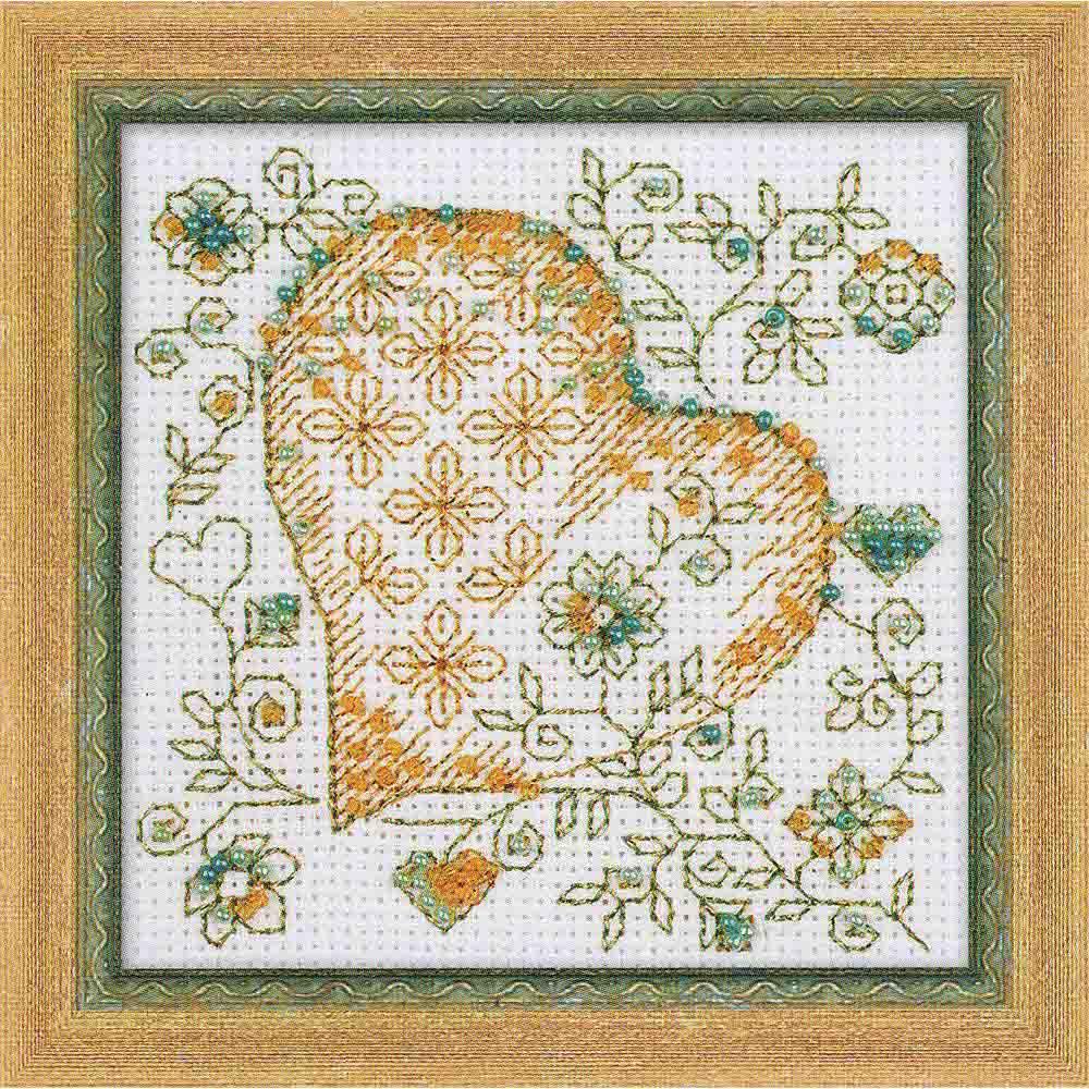 1353 Набор для вышивания Riolis 'Золотое сердце', 10*10 см