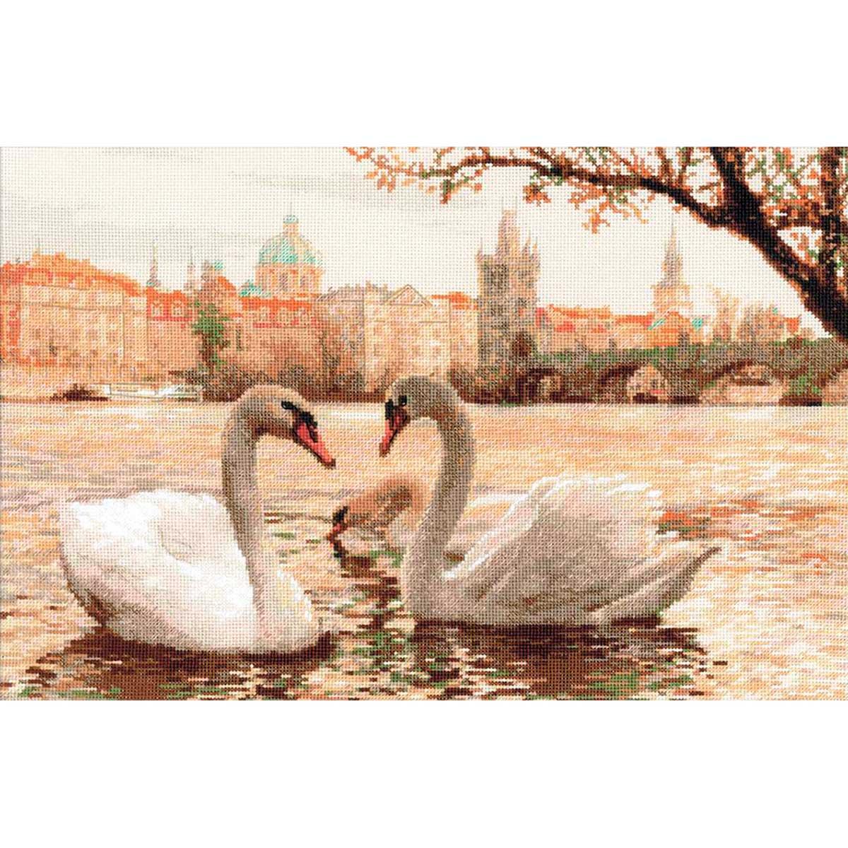 1364 Набор для вышивания Riolis 'Лебеди. Прага', 45*30 см