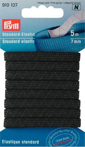 910107 Стандартная эластичная лента плетеная 7 мм черный цв. Prym