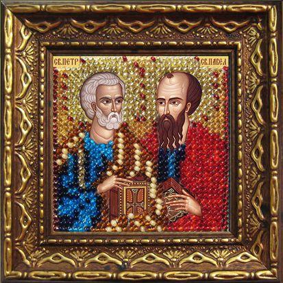 2081дПИ Набор для вышивания бисером 'Вышивальная мозаика' Икона 'Св. Апостолы Петр и Павел', 6,5*6,5 см фото