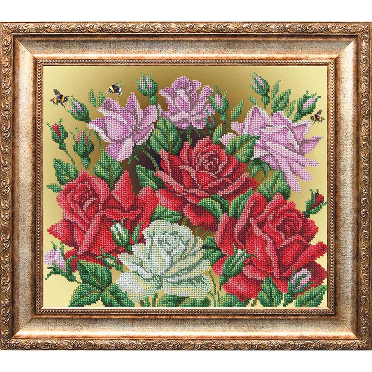 1003 Набор для вышивания бисером 26*31см (Аромат роз, арт.КН-1000)