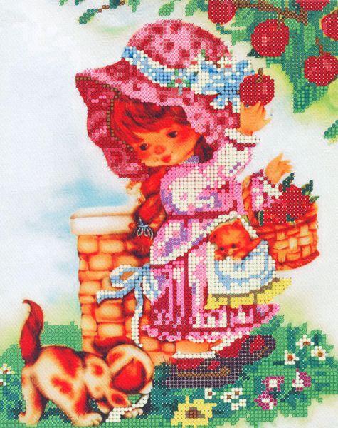 В1109 Канва с рисунком Alisena 'Девочка с яблоками', 20*28 см