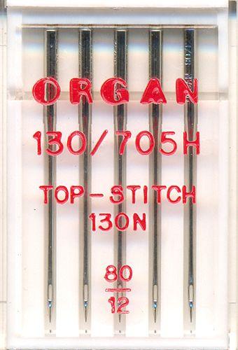 Иглы Орган для быт/шв.маш. top stitch №80 5шт.
