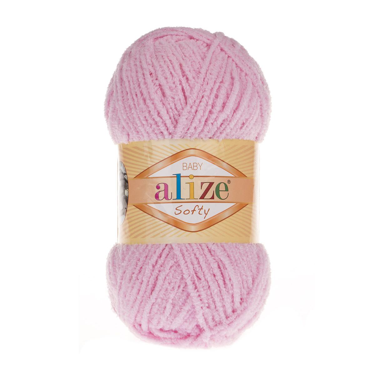Пряжа ALIZE 'Softy' (100% микрополиэстер) (185 детский розовый) фото