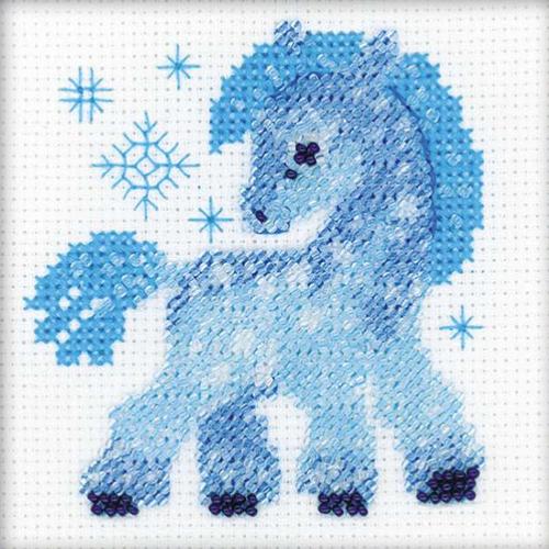 1392 Набор для вышивания бисером Riolis 'Ледяная лошадка', 10*10 см