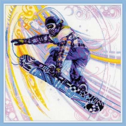 1414 Набор для вышивания Riolis 'Сноубордист', 40*40 см