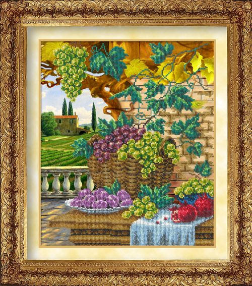 1002 Набор для вышивания бисером 26*31,2см (Пора урожая, арт.КН-1000)