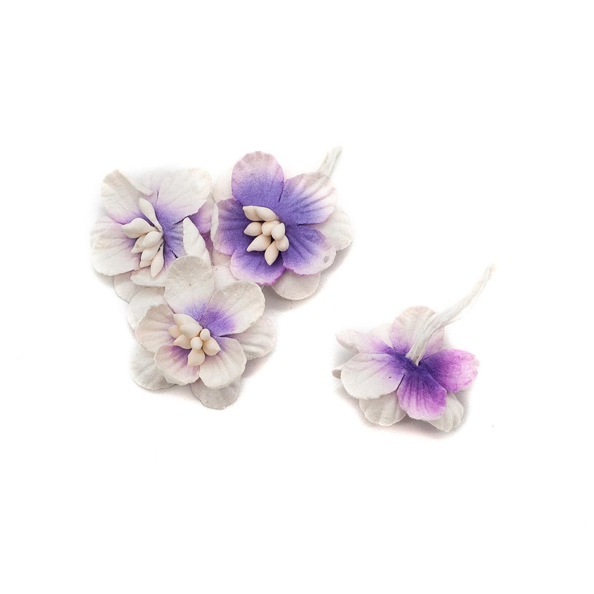 SCB3002 Набор цветки вишни из бумаги, упак./10 шт. (08 фиолетовый/белый) фото