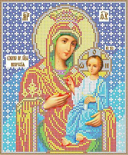 КБИ-4022 Канва с рисунком для бисера Икона 'Божья Матерь Иверская', А4