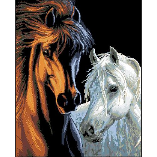 Ф-032 Канва с рисунком 'Гелиос' 'Конь и лошадь', 43,5х53 см