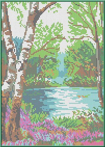 КБП-4001 Канва с рисунком для бисера 'У реки', А4