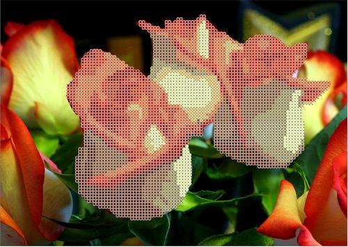 КБЦ-4005 Канва с рисунком для бисера 'Розы', А4