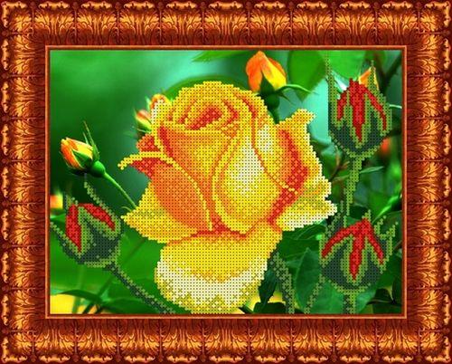 КБЦ-4018 Канва с рисунком для бисера 'Роза', А4