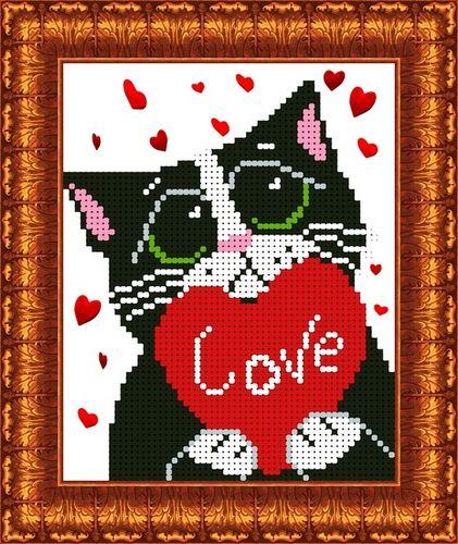 КБЖ-5005 Канва с рисунком для бисера 'Мартовский кот', А5