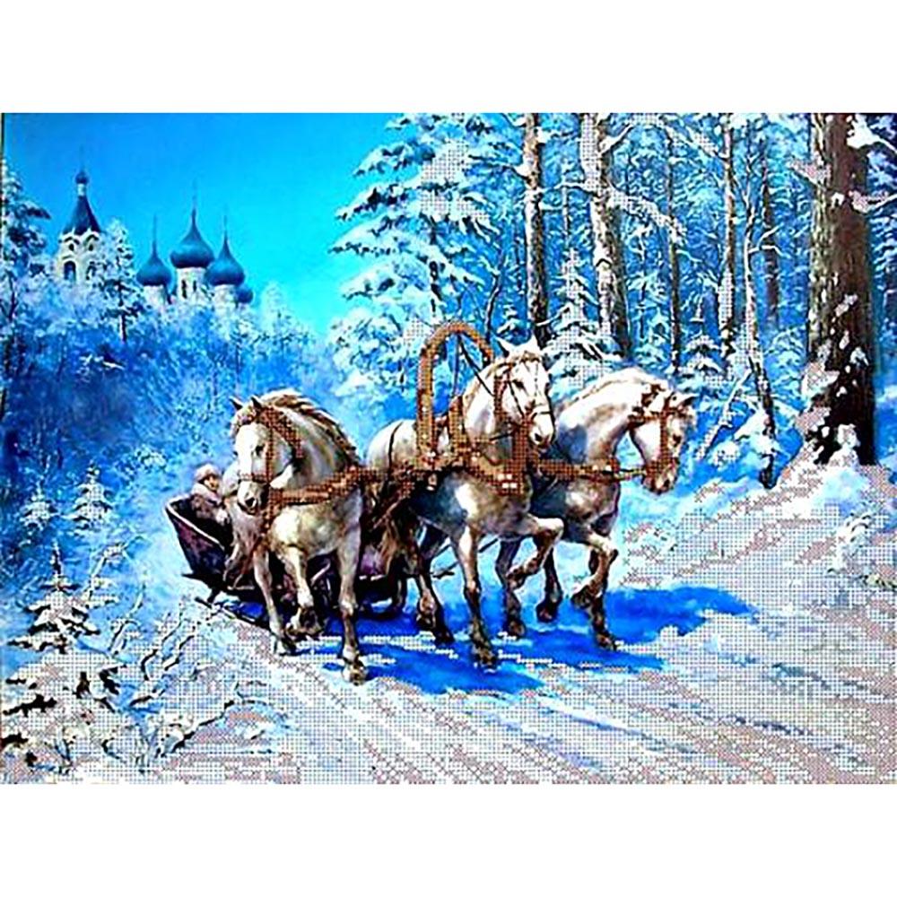 53027 Набор для вышивания бисером Astrea 'Зимний путь', 30х40 см