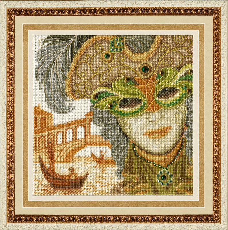М-013 Набор для вышивания бисером 'Золотые ручки' 'Венецианская маска. Он', 15х15 см