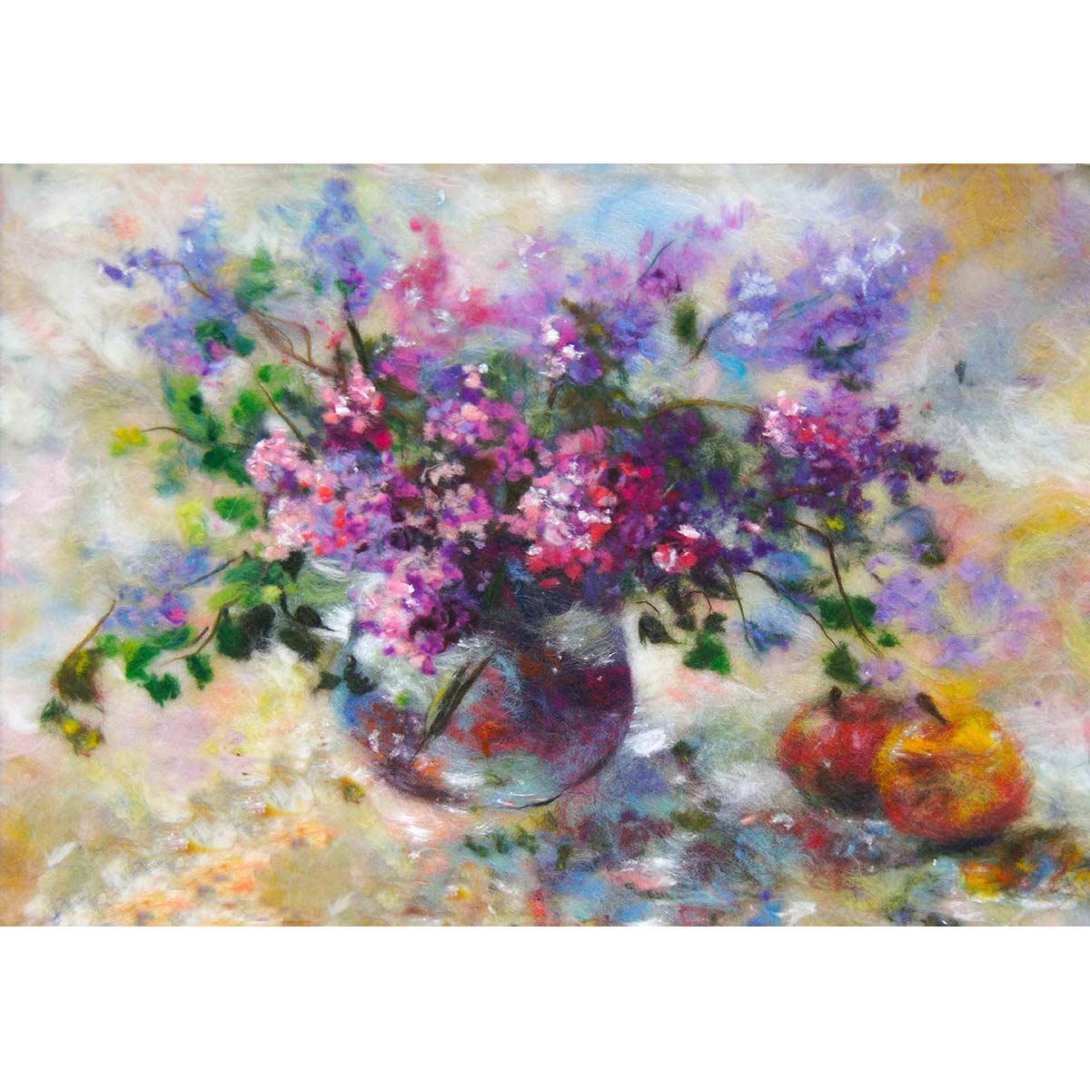 Набор для валяния (живопись цветной шерстью) 'Сирень' 21x29,7см (А4)