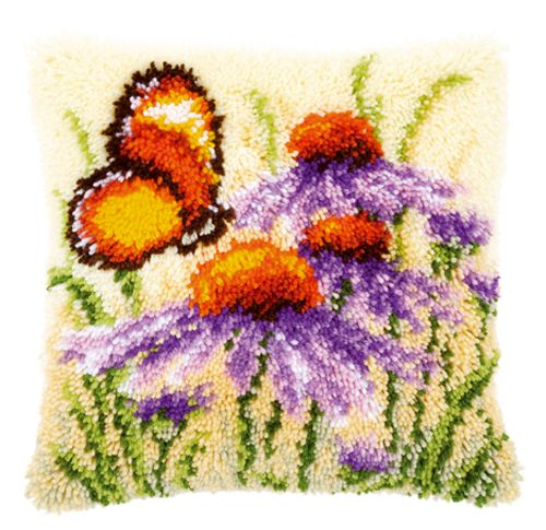 0146947-PN Подушка (ковровая техника) Vervaco 'Эхинацеи и бабочка' 40x40см
