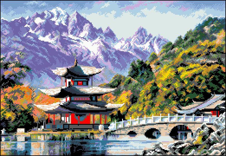 П-044 Канва с рисунком 'Гелиос' 'Пагода', 38х53,5 см
