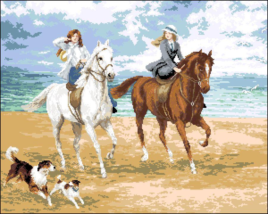 А-009 Канва с рисунком Гелиос' 'Прогулка на конях', 43х51,5 см