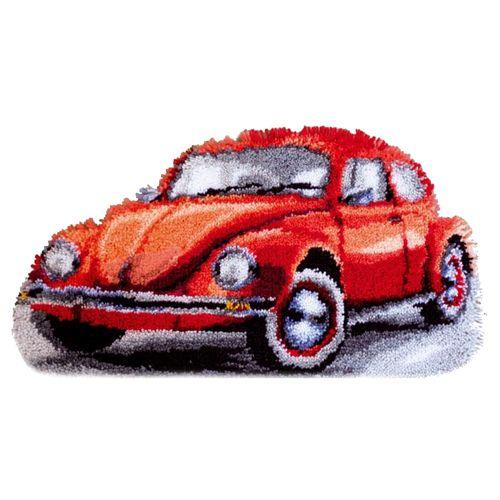 0147487-PN Коврик (ковровая техника) Vervaco 'Фольксваген красный жук' 40x40 см