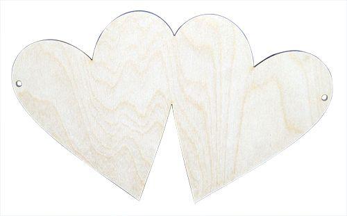 L-104 Деревянная заготовка панно '2 сердечка', 25 см, 'Астра'