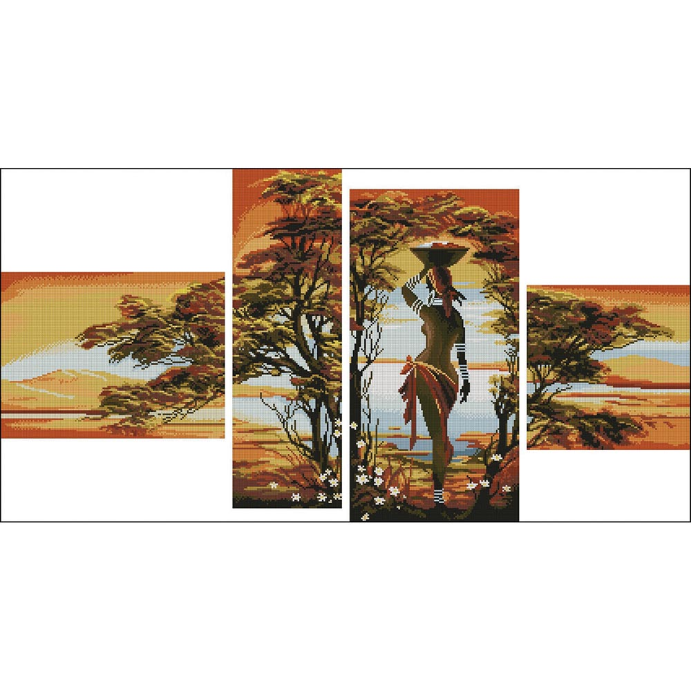 1133 Набор для вышивания Alisena 'Полиптих Африка', 72*33 см