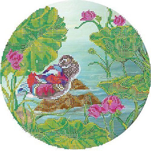 В1137 Канва с рисунком Alisena 'Мандаринки-уточки', 25*25 см