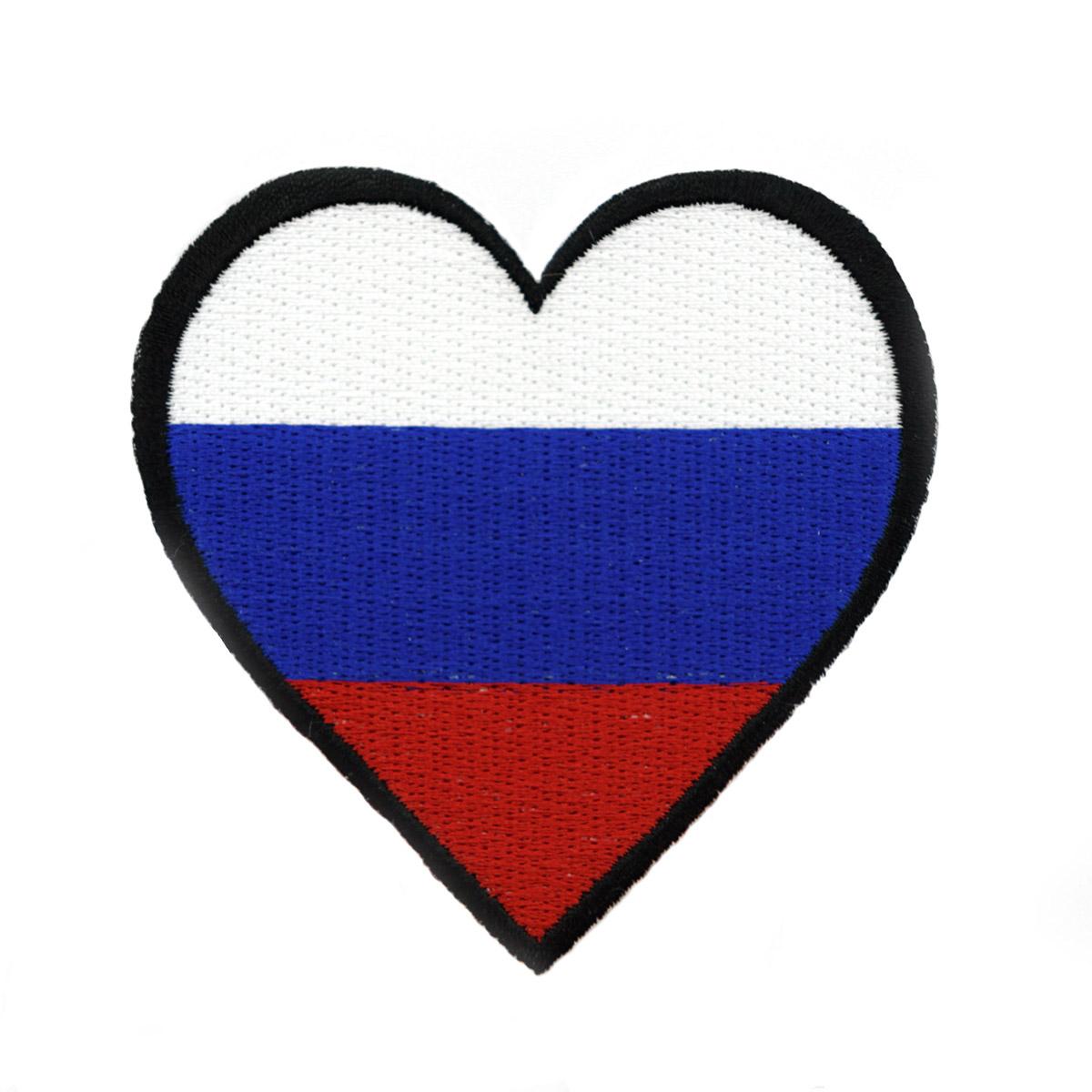 AD1008 Термоаппликация 'Флаг России в форме сердца', 7,5*7,5 см, Hobby&Pro