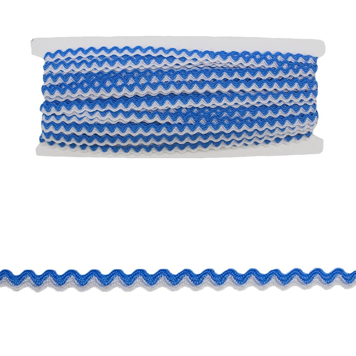 0381-0532 Тесьма-вьюнчик, 5 мм*32,9 м (9408 голубой/белый) фото