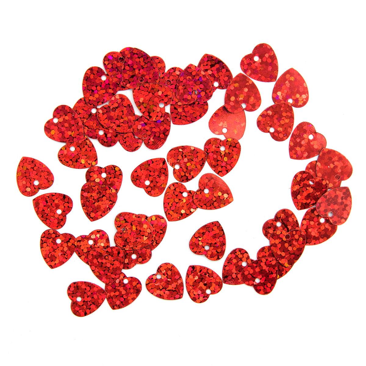 Пайетки 'сердечки', 10*10 мм, упак./10 гр., 'Астра' (50103 красный голограмма) фото