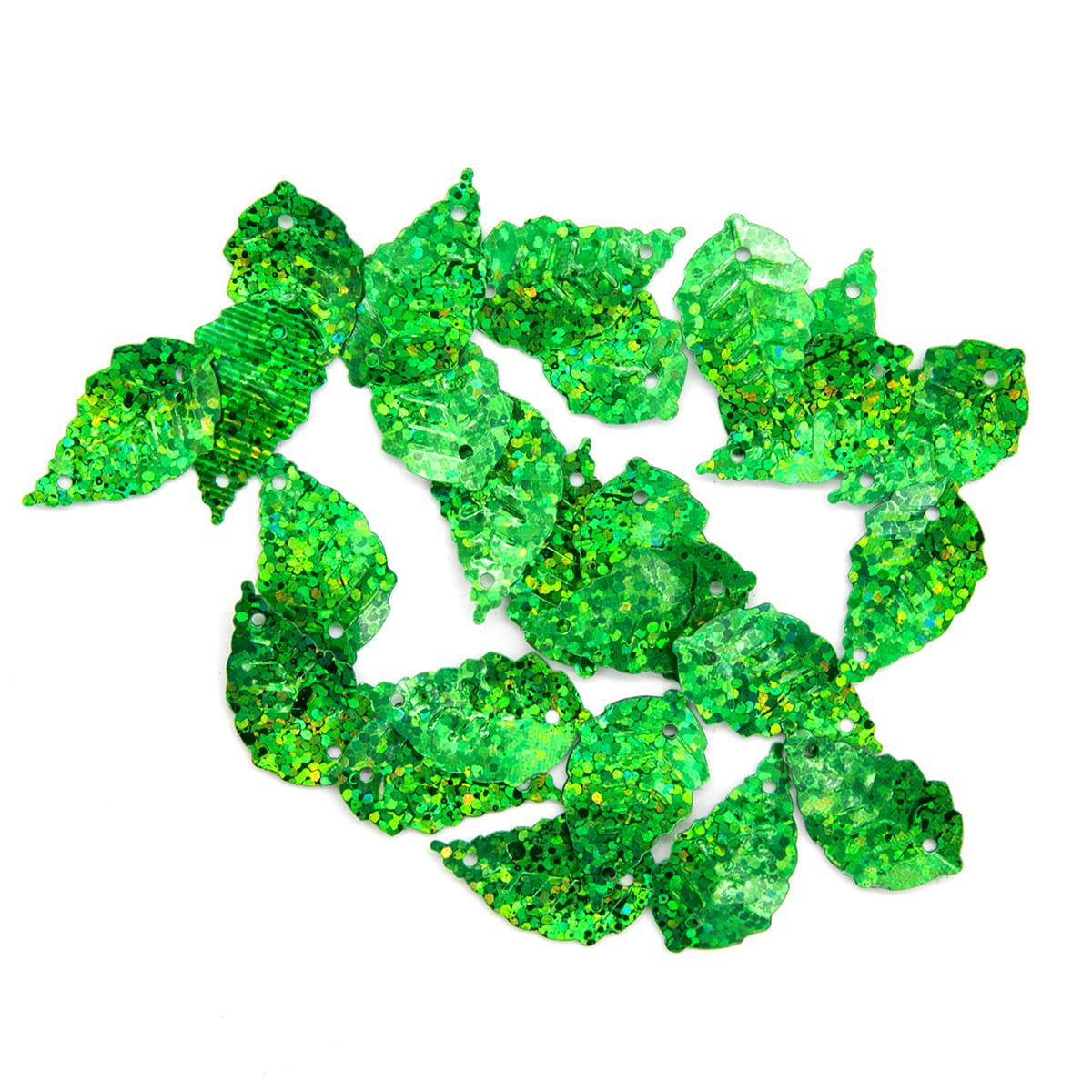 Пайетки 'листочки', 13*25 см, упак./10 гр., 'Астра' (50104 зеленый голограмма) фото
