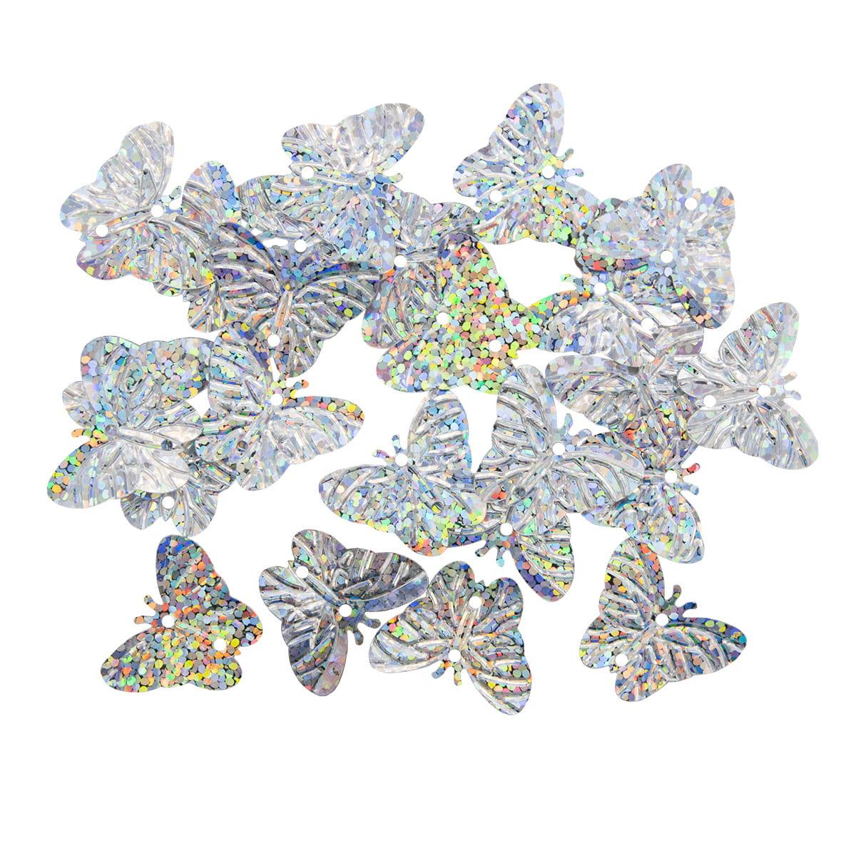 Пайетки 'бабочки', 18*23 мм, упак./10 гр., 'Астра' (50112 серебро голограмма) фото