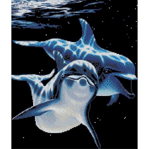 0008 Набор для вышивания Nitex 'Дельфины', 30х35,5 см