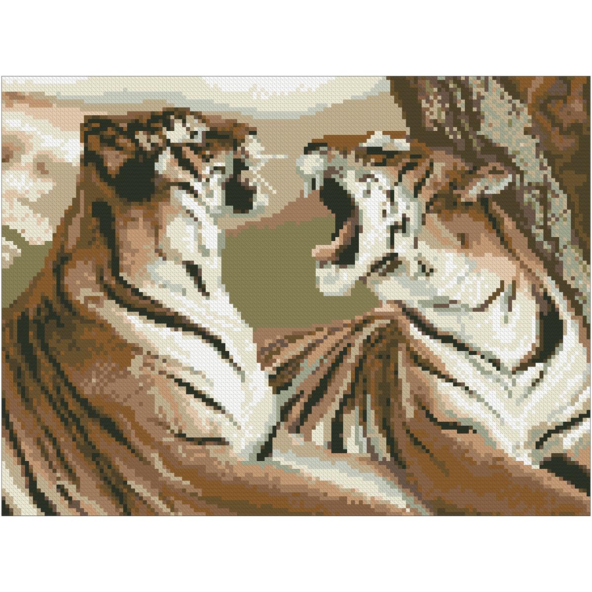 0016 Набор для вышивания Nitex 'Тигры', 30х22,5 см