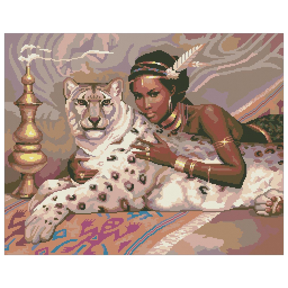 0057 Набор для вышивания Nitex 'Белый леопард', 45х36 см