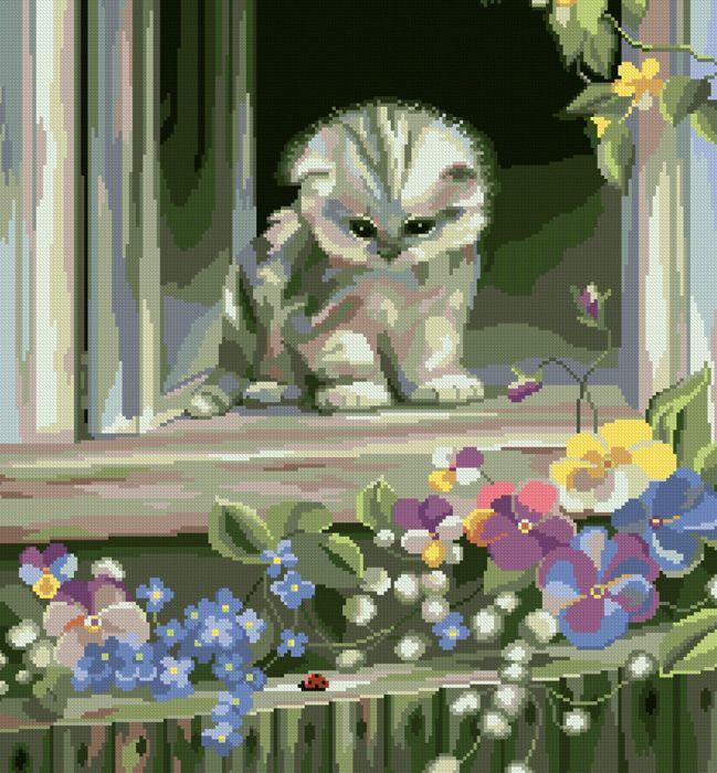 0089 Набор для вышивания'Любопытный котенок' 30х33 см
